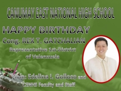 HAPPY BIRTHDAY  CONG. REX T. GATCHALIAN