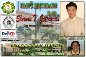 Greeting of Caruhatan National High School to our Mayor Sherwin T. Gatchalian